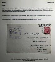 1941 British Forces Egypt Censored OAS Cover To Kent England