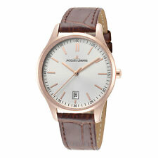 Jacques Lemans Woman's Classic 1-2027E 34mm Silver Dial Leather Watch
