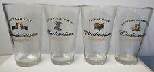 Budweiser Pint Beer Glasses Set of 4 - Finest Hops, Birchwood Aging, Fresh