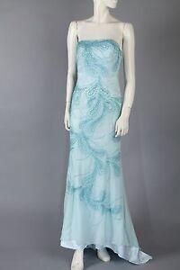 Vintage Sea Blue Prom Dress Strapless W Sequins