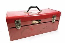 "Vintage Popular Mechanics 20.5"" x 10"" x 9"" Red Tool Box w Tray"
