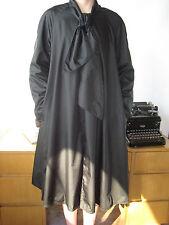 Vtg Coat Spring weight dressy Biz Black & Tan Reversible 2 in 1 sewn on ascot