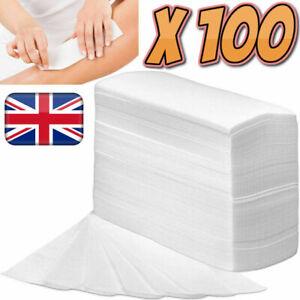 100 Salon Depilatory Paper Hair Removal Waxing Strips Non Woven Legs Body Pro