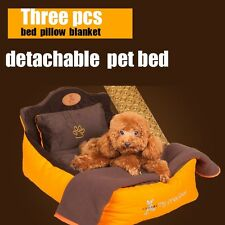 Detachable washable 3 pieces set (Pet bed + pillow + blanket)  dog bed Soft luxu