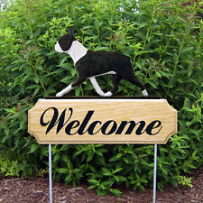 Boston Terrier Wood Welcome Outdoor Sign Brindle