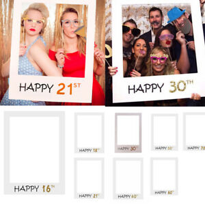 18/21/30/40/50thHappy Birthday Photo Frame Booth Props Selfie Party Decor UK