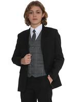Boys Suits, Boys Check Suits, Page Boy Wedding Prom Formal Suit, Boys Black Suit