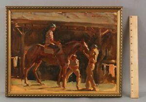 Antiquel LARRY WHALEN American Racehorse Horse Jockey Impressionist Oil Painting