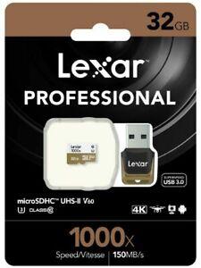 Lexar 32GB 32G 1000x 150MB/s Micro SD SDHC C10 UHS-I USB3.0 Card Reader GoPro 4K