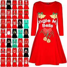Womens Ladies Xmas Long Sleeve Elf Candystick Snowflakes Flared Swing Mini Dress