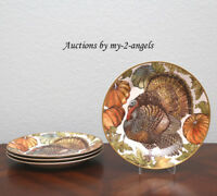 NEW Pottery Barn Thanksgiving Fall HERITAGE TURKEY Dinner Plates S/4 *MORE AVAIL
