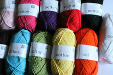 Rico Creative Aran weight 100% cotton yarn.Washable, various colours.