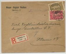 LL76292 Germany 1923 Hamburg to Plauen registered inflation cover used