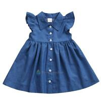 Princess Baby Kids Girls Toddler Denim Jeans Dress Skirt Clothes Summer Dresses
