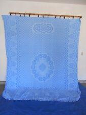 "* SALE * Vintage Blue Chenille Bedspread 100"" x 119"" Beautiful"
