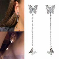 Fashion Crystal Butterfly Tassel Earrings Threader Stud Long Drop Dangle Women