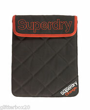 "NEW SUPERDRY QUILTED TABLET IPAD SLEEVE DARK GREY & ORANGE 10"" x 8.5"""