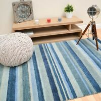 Plantation Regatta Blue Striped Wool  Rug 01 in Various Sizes