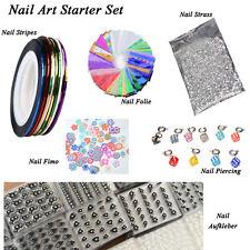 Nail Art Starter Set, Nail Stripes, Folie, Strasssteine, Fimo, Nagelpiercing