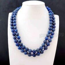 Gemstone Necklace 36'' Long Aaa+ 10mm Natural indigo Lapis lazuli Round