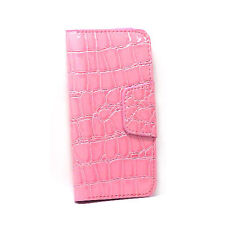 Card Wallet Flip Crocodile Case For iPhone 5 - Pink