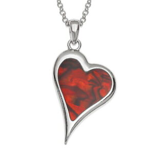 """TJ686 Tide Jewellery inlaid red Paua shell assymetric heart pendant on 18"""" trace"""