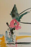 "JOSE TRUJILLO - ORIGINAL Watercolor Painting Expressionism 6X9"" Rose Flower Vase"