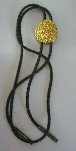 Vtg Wilmarth bolo brown leather tie Faux Gold nugget stone Mens tie Western wear