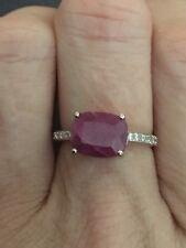 White Gold Ruby & Diamond Ring - Stunning