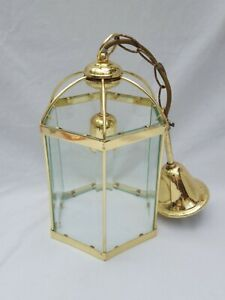 BRASS & CLEAR GLASS PENDANT CEILING LIGHT