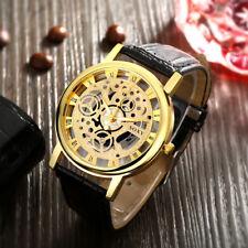 Men's Black Leather Gold Quartz Wrist skeleton Watch With Gold Dial Gift