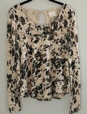 Pins & Needles Anthropologie Lace Top Shirt Blouse Long Sleeve Size L