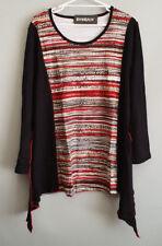 BNWT Ladies Sz 20 Eversun Brand Gorgeous Black Red Cream Long Sleeve Tunic