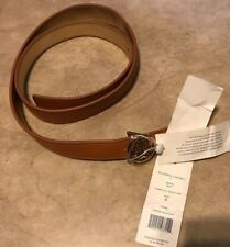 "Tory Burch 1"" Brown Gold Reversible Gold Logo Buckle Belt Size S Small NEW w/tag"