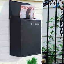 Black Vertical Lockable Mailbox Wall Mount Galvanized steel W/Door &2 keys New