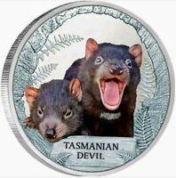 2013 TUVALU TASMANIAN DEVIL Endangered and Extinct 1oz .999 Proof Silver Coin