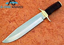 CUSTOM HAND MADE D2 STEEL  BOWIE HUNTING KNIFE WITH LEATHER HANDLE & BRASS CLIP