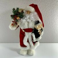 "Christmas Santa Claus Holding Doll Bag of Toys 18"" Tall Holiday Red White Figure"