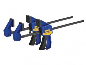"2 x Irwin Quick-Grip T54122EL7 One-Handed Mini Bar Clamp 300mm / 12"" Twin Pack"