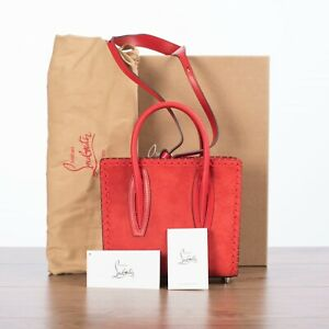 CHRISTIAN LOUBOUTIN 1850$ PALOMA S Mini Tote bag In Red Suede
