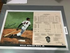Willie Mays Autographed 14 x 21 Lithograph Stat Print # 484/1000 Beckett COA