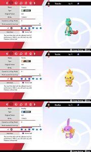 Set - Ultra Shiny 6IV Treecko, Torchic & Mudkip Pokemon Sword/Shield Switch