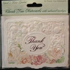 Carol Wilson Thank You Cards 10 Embossed Set Soft Pink Peach Rose Roses Blank