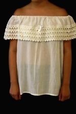 WHITE SMALL/MEDIUM WOMEN MEXICAN BLOUSE/SHIRT EMBROIDERED BY HAND BY ARTISANS