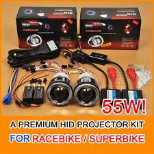 """2x 3.0"""" Motorcycle HID BI-XENON Headlight Projector Kit Halo Angel Devil Eye 55W"""