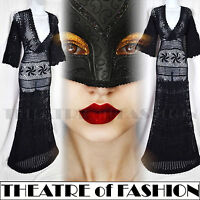 VINTAGE 70s CROCHET DRESS LACE MONSOON M UK 12 14 16 10 BLACK WEDDING 30s BOHO