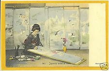 Japanese Postcard - Woman Artist at Work