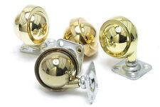 "Shepherd Hardware 9384 2"" diameter Metal Ball Furniture Casters, Brass, 4pc"