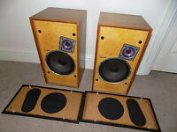 WHARFEDALE Hifi Speakers LINTON 2 Brown Woodgrain England 48cm high