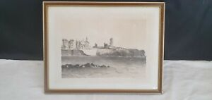 Etching Printed by Newman & Co London of Aberystwyth Castle and Church